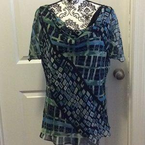 NWOT. Ladies short sleeve cowl neck blouse